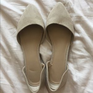 F21 nude suede pointy toe flats